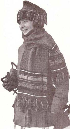 Scotch Plaid Skating Set Knitting Pattern Knit Cap Hat Tam Beanie with Scarf (English Edition)