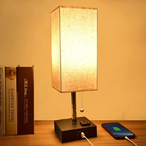 Usb Table Lamp,Comzler Small Lamp Bedside Lamp With Usb Port To Recharging Your Devices,Warm Led Bulb Included,Ambient Light, Fabric Shade, Nightstand Lamp Perfect For Bedroom