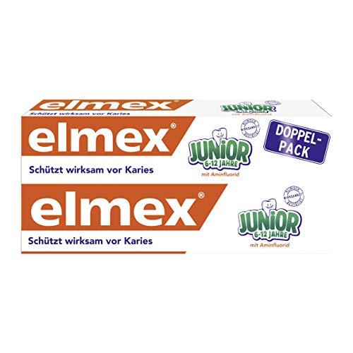 Elmex JUNIOR Zahnpasta, 6-12 Jahre, 1er Doppelpack (1 x 2 X 75 ml)