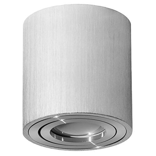 LED Aufbauspot, LED Deckenaufbauleuchte, Aluminium Deckenleuchte Silber Rund Ø79mm x 84mm VENICE (SILBER)