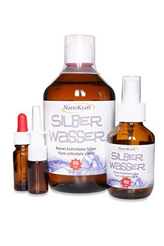 Kolloidales Silber 500ml / 50ppm | Silberwasser mit gratis Sprühflasche | Gratis Nasensprayflasche | Gratis Pipettenflasche | Messbecher | Hohe Konzentration | Bessere Wirksamkeit | Made in Austria