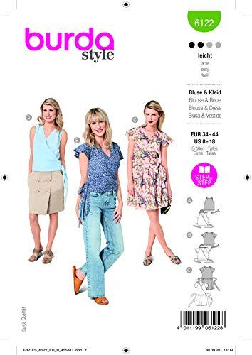 Burda 6122 Schnittmuster Bluse und Kleid (Damen, Gr. 34-44) Level 2 leicht