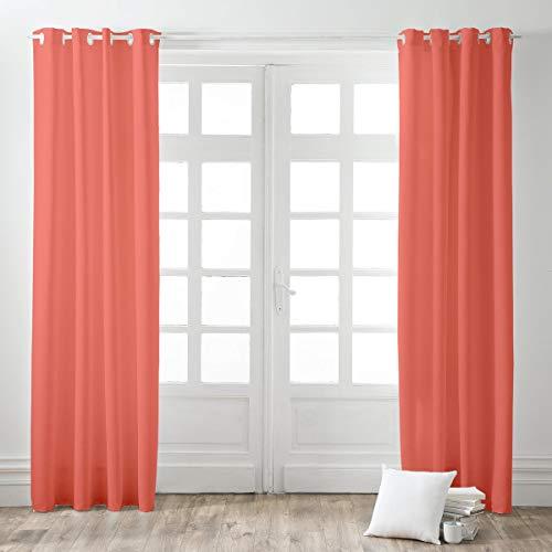 Today 257157 Rideau Occultant à œillets Polyester Corail/Orange 140 x 260 cm