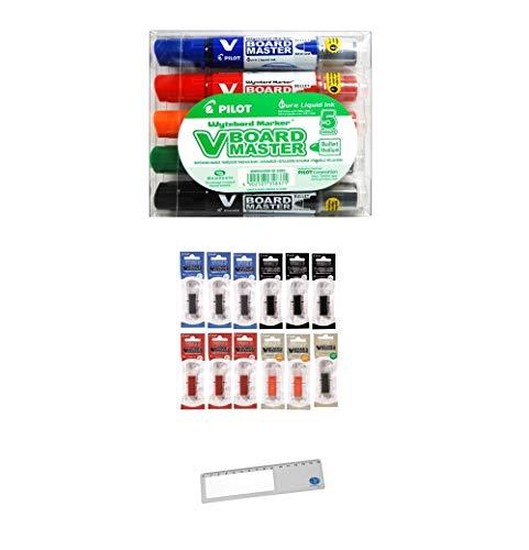 Pilot V Board Master-Set de 5 Marcadores Multicolor para Pizarra + Recambios Pilot VBoard Master-Para Pizarra Blanca 12 Unidades (3 Azules,3 Negros,3 Rojos,2 Naranja y 1 Verde) + Marcapaginas JorPay