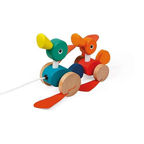 Janod J08211 Zigolos Nachzieh-Enten aus Holz, FSC-zertifiziert, Nachziehspielzeug für Kleinkinder, für Kinder ab 1 Jahr, mehrfarbig