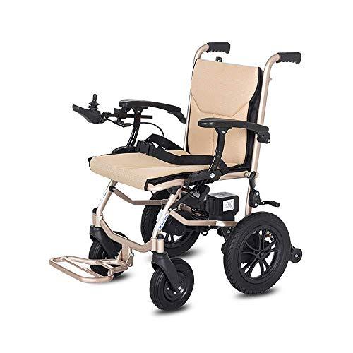 ZHICHUAN Silla de Ruedas, Silla de Ruedas Plegable de Aluminio Eléctrico, Ancianos Discapacitados Ligera Vespa hgfgcadasda/Control dual