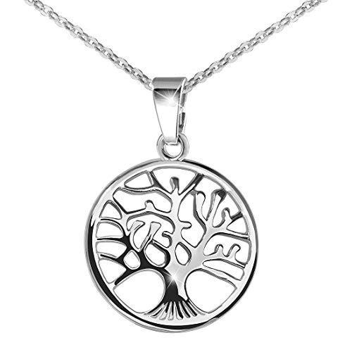 925 Silber Kettenanhänger Baum - Schmuck Anhänger Lebensbaum 22x31mm für Halskette aus massivem 925 Sterling Silber #KA-5
