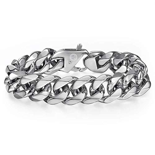 Trendsmax 15MM Men's 316L Stainless Steel Silver Chunky Curb Cuban Link Chain Bracelet Gifts For Men Boys Length 9inch