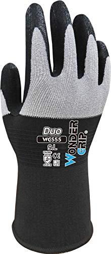 Wonder Grip WG-555 Duo, Guante de trabajo con material de nylon en la parte posterior de la mano, revestimiento de nitrilo; Tejer técnica, guantes de seguridad para un agarre seguro M/08, gris y negro
