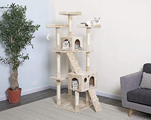 "Go Pet Club 72"" Cat Tree Condo Furniture - BeigeCat Tree Furniture"
