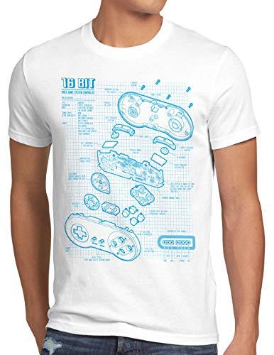 style3 16 bit Gamepad Cianotipo Camiseta para Hombre T-Shirt, Talla:XL, Color:Blanco