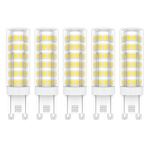 5X G9 Lámpara LED Regulables 7W Bombilla Lámpara 75 SMD 2835LEDs Blanco Frío 6000K LED Lamps 650LM Equivalente a Halógenas 65W AC220V-240V