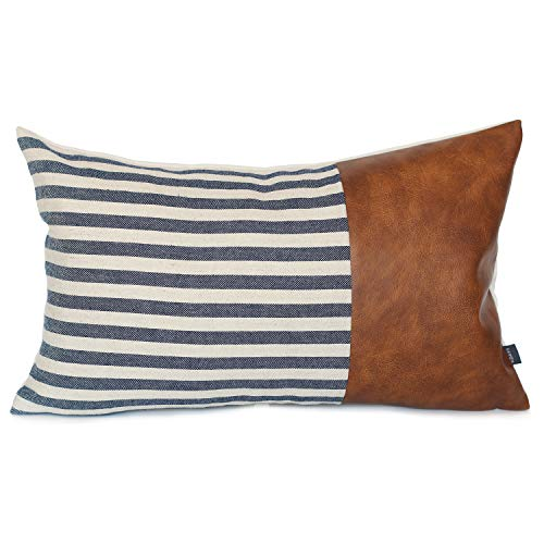 Kdays Linen Farmhouse Blue Ivory Striped Throw Pillow Cover Decorative Faux Leather Ticking Stripe Cushion Pillowcase Modern Minimalist Sofa Couch Bohemian Lumbar Pillow 12x20 Inches