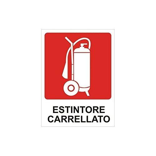 """CARTELLONISTICA ADESIVA SICUREZZA DEL LAVORO""""ESTINTORE CARRELLATO"""" (DIM.10,3x13,8 CM)"""