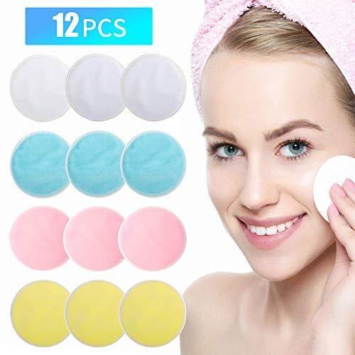 Tampons de maquillage réutilisables 12 paquets, tampon de coton lavable en bambou avec sac à linge