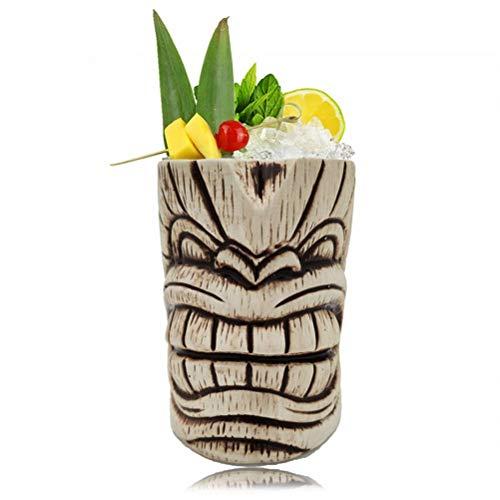 Yousiju 450ml Hawaii Tiki Tazas Copa de cóctel Cerveza Taza de Bebida Taza de Vino Taza de cerámica de la Isla de Pascua Tiki Herramienta de Barra