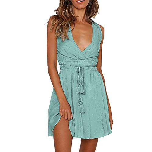 HHmei Fashion Womens Sleeveless Ladies Deep V-Neck Solid Backless Bandage Mini Dress | Guest Summer Red Girls Long Sleeve Party Bodycon Casual Off Shoulder Yellow Gold (Green S)