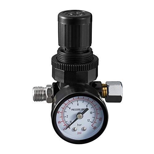 LIXUDECO Indicador de presión Mini 1/4 Hilo 180PSI / 12BAR Presión de Aire Reducción de la Fuente de Aire Fuente de Aire Unidad de Tratamiento con Calibre de presión Instalación fácil