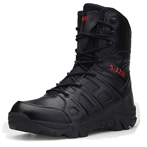 Men's Leather high-top Military Tactical Combat Boots Outdoor wear-Resistant Waterproof Desert Shoes Comfortable Non-Slip Breathable Camping Trekking Hiking Boots Black