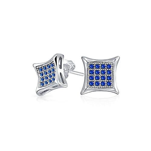 Hombres Mujeres En forma cuadrada cúbica Zirconia Micro Pave Azul Simulado Zafiro Kite Stud Pendientes 925 Plata esterlina 12MM