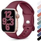 Upeak Compatibile con Cinturino Apple Watch 38mm 40mm 42mm 44mm, Cinturino Sportivo in Morbido Silicone Compatibile con iWatch Series SE 6 5 4 3 2 1, 38mm/40mm-S/M, Vino Rosso