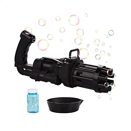 EUROXANTY Máquina de Burbujas Automática  Juguete de Pompas para Niños y Adultos   Diseño de Ametralladora Gatling   20 x 9 x 7 Centímetros   Negro  