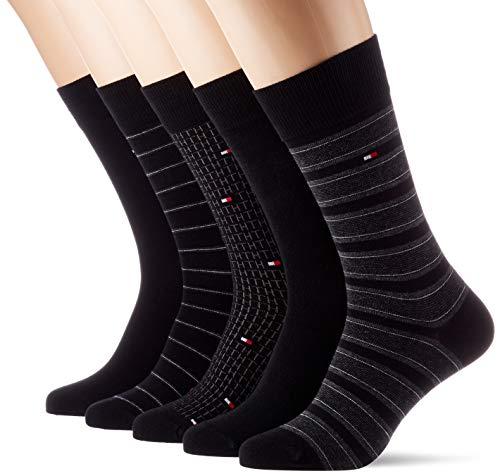 Tommy Hilfiger Th Men Sock 5p Fine Stripe Tin Giftbox calcetines, negro, 39/42 (Pack de 5) para Hombre