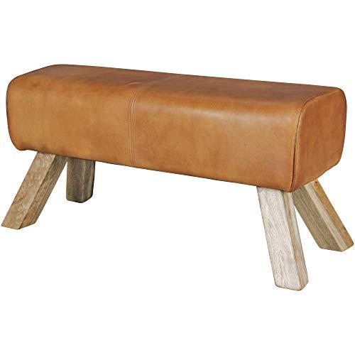 Wohnling Design Sitzhocker WL5.105 Holz 90x30x43 cm Leder Modern Springbock   Lederhocker mit Holzbeinen   Massivholz Hocker mit Leder   Springbock Turnbank Gepolstert   Garderobenbank Echtes Leder