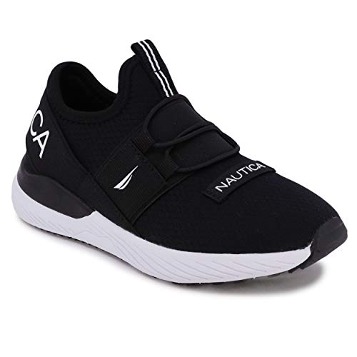 Nautica Kids Youth Sneaker Athletic Slip-On Bungee Running Shoes Boy - Girl Little Kid-Big Kid-Neave Bali-Black White-4