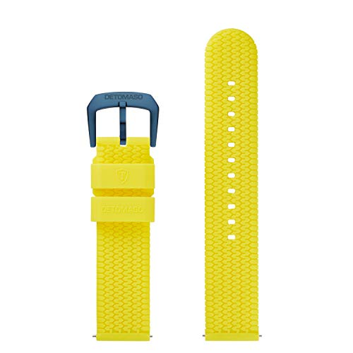 DETOMASO Uhrenarmband Silikon-Armband 20mm 22mm 24mm mit Schnellwechsel Federsteg und Dornschließe (20mm, gelb - dunkel Blaue Schließe)