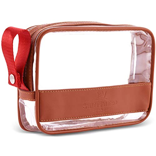 Saint Maniero ® Design Kulturbeutel transparent für Handgepäck Flüssigkeiten – größtmögliches Volumen für Security Check – veganes Leder – mehr Ordnung durch flachen Boden und Henkel (Braun)