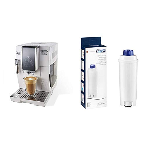 De'Longhi Dinamica Automatic Coffee & Espresso Machine TrueBrew (Iced-Coffee), Burr Grinder + Descaling Solution, Cleaning Brush & Bean Shaped Icecube Tray, White & Water Filter, White - DLSC002