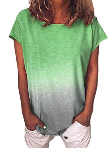 Camiseta de Manga Corta de Color Degradado con Estampado de Arco Iris de Verano para Mujer Camiseta Suelta