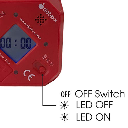 Datexx TimeCube Plus Preset Timer with 4 LED Light Alarm for Time Management, and Countdown Settings (Red - 5,10,20,25 min)