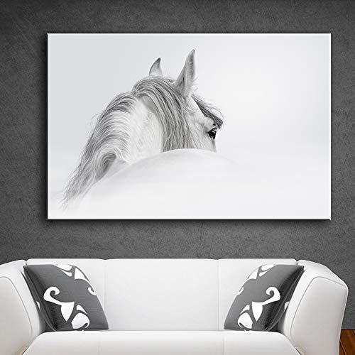 sanzangtang wanddecoratie canvas kunst afbeelding afdrukken afbeelding canvas kunstdruk tiermalerei woonkamer wit paard zonder lijst