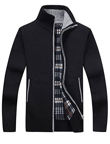 Yeokou Men's Casual Slim Full Zip Thick Knitted Cardigan Sweaters with Pockets (Large, Black)