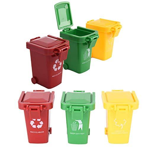 FADACAI 6 Stücke Mini Mülltonnen-Set Klein Bunte Mülltonnenspielzeug Mülleimer für Kinder-Gelb,Rot,Grün