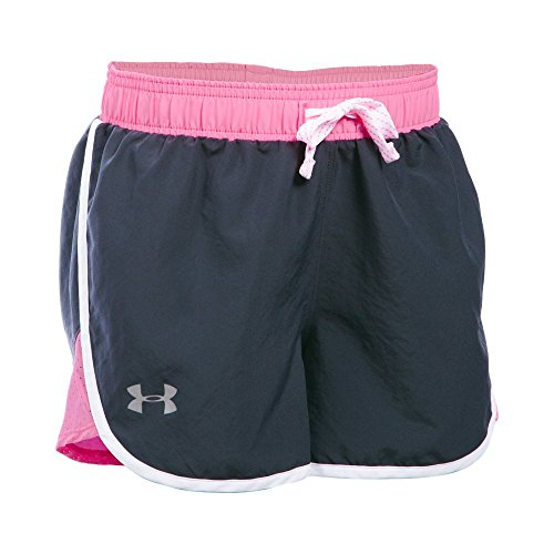 Under Armour Girls' Fast Lane Shorts, Stealth Gray (008)/Reflective, Youth Medium