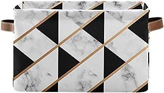 DOSHINE Panier de rangement pliable en marbre géométrique avec poignées Grand cube de rangement Panier à linge pour organi...