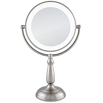 Zadro 10X/1X Dual Sided Next Generation Led Lighted Dimmable Touch Vanity Mirror Satin Nickel