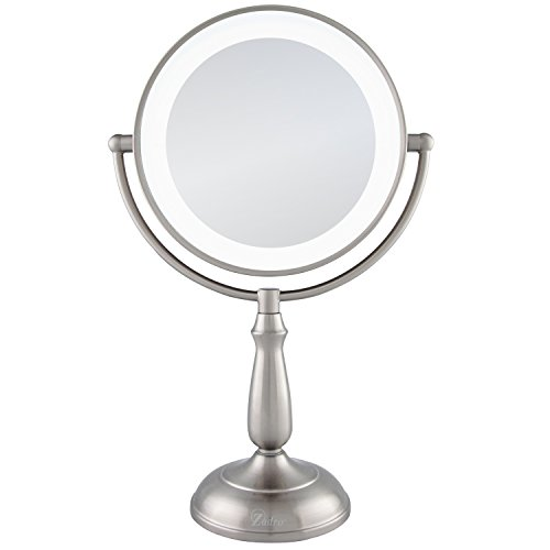 Zadro Ultra Bright LED Lighted Dual-Sided 12X/1X Magnification Smart Touch Dimmer Vanity Beauty Makeup Mirror, Satin Nickel