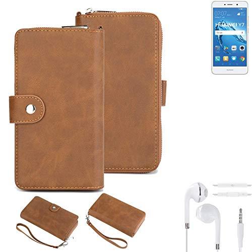 K-S-Trade Handy-Schutz-Hülle Für Huawei Y7 Dual SIM + Kopfhörer Portemonnee Tasche Wallet-Hülle Bookstyle-Etui Braun (1x)