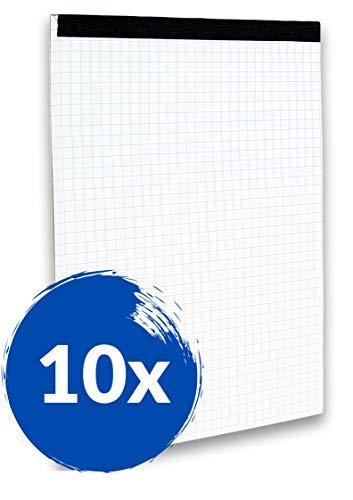 Landré 100050636 Lot de 10 blocs notes sans première de couverture Format A5 50 pages à carreaux Papier fin et sans bois 60 g/m² Gris Perforé