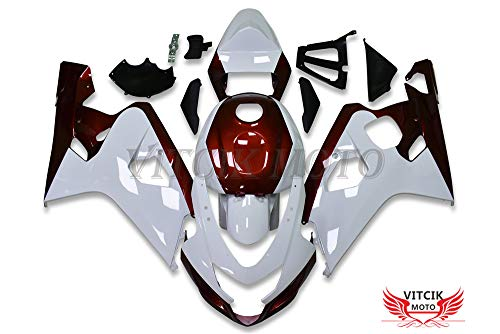 Blue /& White VITCIK Plastic ABS Injection Mold Complete Motorcycle Body Aftermarket Bodywork Frame Fairing Kits Fit for Yamaha YZF-600 R6 2006 2007 YZF 600 R6 06 07 A104