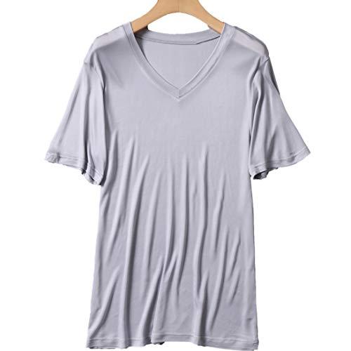 メンズ シルク VネックT 半袖 丸首Tシャツ インナーシャツ M L XL silk シルク100% メンズ 絹 半袖 下着 涼感 敏感肌 低刺激 通気 抗菌 快適 (L, グレー)