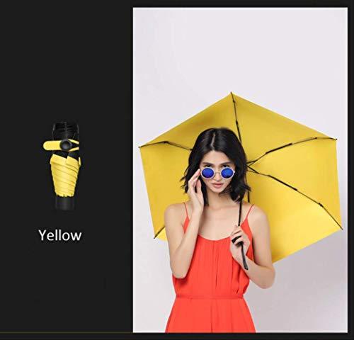 NJSDDB paraplu mini vouwparaplu lichtgewicht snoep kleur 5 vouwen mode zon parasol handmatige paraplu zwart coating vissen paraplu UV, Geel