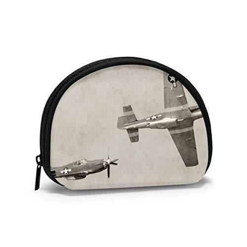 World War 2 Flugzeug Flugzeug Münzgeldbörse für Frauen Reißverschluss Kleine Taschen Brieftasche Wirel Headset Pack