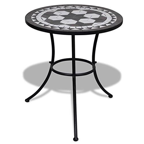 Table de mosaïque, table de jardin table de salle à manger avec design ?o Mosaïque pour Jard αan ou Balc, noir et blanc, 60 x 70 cm