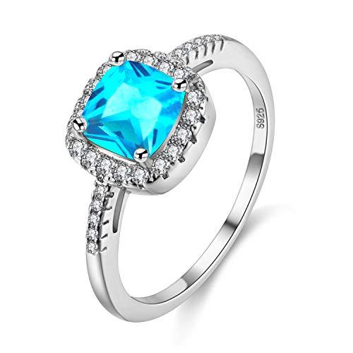 Uloveido- Anillos de Bodas de Solitario de Diamante de topacio Cuadrado Azul simulado, joyería de Anillos de Compromiso de halo (Azul, Talla 19) Y3100