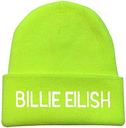 Embroidery Billie Eilish Beanie Hat Women Men Knitted Warm Winter Hats For Women Men Solid Hip-hop Casual Cuffed Beanies Bonnet